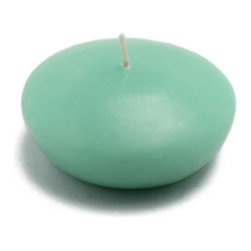 "Jeco - 3"" Aqua Floating Candles-12pc/Box - Large round aqua floaters are a must for events such as housewarmings and weddings. Illuminate these floaters on waters to maximize the atmosphere. These unscented floating candle discs burn exceptionally long and have solid color all the way through. PLEASE NOTE: Actual color may differ from the color shown in the image(s) due to monitor displays.; Features: Color: Aqua; 100% Handpoured; Prices are per box of 12 candles; Size: 3"" Diameter x 1.5"" H; Burn Time: 5 - 6 Hours"