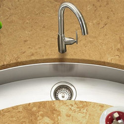 Houzer - Contempo Trough Curved Bar-Prep Sink - Take a bold turn with a curved Zero Radius design. Zero radius ledge and bottom 33 in. x 11.5 in.. 6 in. depth. Fits 36 in. cabinets. Wire rack, mounting clips, basket strainer, and template included. Bowl Interior: 26 in. x 6.5 in. x 6 in. deep. Brushed Satin Finish, True Zero radius corners, StoneGuard undercoating over MegaShield insulation. Wire rack BG-1308. 18 gauge. T304 Premium Stainless Steel. Meets ASME A112.19.3-2000, UPC, CSA.. Faucet and strainer not included. Limited Lifetime Warranty. 33 in. W x 8.5 in. H x 6 in. D. Product Specifications