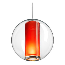 Pablo - Bel Occhio Pendant, Orange Cylinder - Think modern '60s vibe with this orb-shaped pendant lamp. Featuring a cylinder fixture, it shines light from the bottom and emits a soothing glow from within.