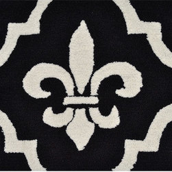 The Rug Market - Fleur de Lis Area Rug - Black and white, regal and quite a statement, this is a modern take on a traditional symbol. The fleur de lis is a decorative design of a lily or iris often meant to convey dynastic power. Add some power to your floor decor with this UV-poly hook rug.