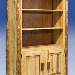 """Montana Woodworks - Glacier Country Bookcase - 14 in. deep main shelves. Two raised panel doors. 20 years limited warranty. Made from solid pine. Hand-crafted in the US, each Montana Woodwork product is made from unprocessed, solid wood that highlights the character of its source tree with unique knots and grains. Made in USA. No assembly required. Storage Area: 21 in. W x 38 in. D x 13 in. H. Overall: 44 in. W x 17 in. D x 63 in. HThis handcrafted, rustic style bookcase is sure to stand out in any room. Have plenty of room for books, collectables and family heirlooms. Finished in the """"Glacier Country"""" collection style for a truly unique, one-of-a-kind look reminiscent of the Grand Lodges of the Rockies, circa 1900.  First we remove the outer bark while leaving the inner, cambium layer intact for texture and contrast.  Then the finish is completed in an eight step, professional spraying process that applies stain and lacquer for a beautiful, long lasting finish."""