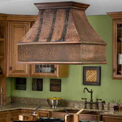 """36"""" Tuscan Series Copper Island Range Hood with Riveted Bands - Add the stunning 36"""" Tuscan Solid Copper Island Range Hood as the focal point to your gourmet kitchen. This kitchen exhaust fan features a hammered copper design accented with copper straps and rivets."""
