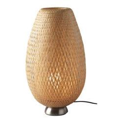 BÖJA Table lamp - Table lamp, nickel plated, rattan