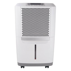 Frigidaire A/C - 70 Pint Dehumidifier - The Frigidaire FAD704DWD Energy Star 70-pint Dehumidifier protects your home from mold and mildew caused by excess moisture. It also helps eliminate bacteria in the air that can make breathing difficult. Frigidaire's 70 pints-per-day dehumidifier is capable of continuous operation when the unit is located near a suitable drain. It features full-function electronic controls, an easily accessible collection container with level indicator, and a washable filter that reduces bacteria, room odors and other airborne particles. Its effortless humidity control allows you to control the exact percentage of humidity in your room. The Space Wise portable design includes a top handle, integrated side handles and caster wheels making it easy to move your unit from room to room. Plus, you'll save money with its Energy Star efficiency.