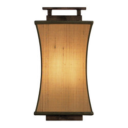 Fine Art Lamps - Fusion Sconce, 232850ST - Let tranquility and light into your favorite setting with this lantern-like, Asian-influenced wall sconce. Dupioni silk over a simple frame of oxidized bronze patina brings a zen vibe.