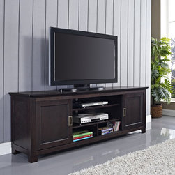 70 in Espresso Wood TV Stand with Sliding Doors -