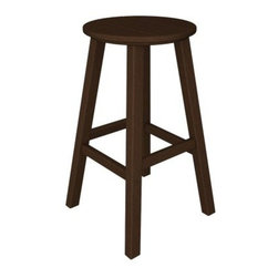 POLYWOOD® Traditional 30 in. Round Bar Stool - Complete your patio deck or outdoor space with the POLYWOOD Traditional 30 in. Round Bar Stool. Crafted from 90% recycled materials this tasteful patio bar stool is a fun and functional addition to any space. The high-quality plastics and durable polywood craftsmanship offer the look of real wood without the maintenance. The resilient polywood does not splinter crack chip peel or rot and it is resistant to corrosive substances insects fungi salt spray and other environmental stresses for a stool that will adorn your home with style for years to come. Polywood uses unique plstic lumber making and furniture fabricating technologies. Polywood furniture is backed by a 20 year limited warranty. The quick-dry material makes cleaning as easy as soap and water and the easy-to-clean material looks good as new. Choose from a variety of frame finishes for the chair that best complements your patio deck garden or outdoor space. Please note: This item is not intended for commercial use. Warranty applies to residential use only. About Poly-WoodThe advantages of Poly-Wood Recycled Plastic are hard to ignore. Poly-Wood absorbs no moisture and will NOT rot warp crack splinter or support bacterial growth. Poly-Wood is also compounded with permanent UV-stabilized colors which eliminates the need for painting staining waterproofing stripping and resurfacing. This material is impervious to many substances including salt water gasoline paint stains and mineral spirits. In addition every Poly-Wood product comes with stainless steel hardware. Poly-Wood is extremely easy to clean and maintain. Simple soap and water is all you need to get rid of dirt and make your furniture look new again. For extreme cleaning needs you can use a 1/3 bleach and water solution. Most Poly-Wood furnishings are available in a variety of classic colors which allow you to choose your favorite or coordinate with the furniture you already have. This is sure to be a piece that you will be proud to own for a lifetime.