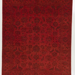 Rug Knots - Traditional Chobi Ziegler Oriental Wool Rug with Border Rust and Red 7.1x9.9 - Rich, elegant red colors fill this rug's main space. Add a royal touch to a formal dining room, or complete a dark wood-and-leather study with this classic, bold rug. The rug's striking color is balanced by a simple, modest design which features traditional Chobi Ziegler elements like floral and natural motifs. A soft, multi-layered border complements the rug's central space. Four main areas host designs which are displayed symmetrically. This stunning rug features a medium pile height, meaning it's easy to care for and also comfortable to stand on. The fibers are made of pure wool, which lasts for years.