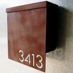 Address Plaques - Custom Modernist House Number Mailbox No. 1310 Drop Front in Rusted Steel