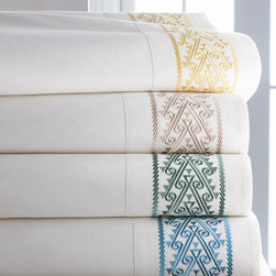 Horchow - Queen Sheet Set - PEARL/IVORY - Queen Sheet SetDetailsMade of embroidered Italian cotton.Select color when ordering.Includes flat and fitted sheets and two standard pillowcases.Machine wash.Imported.