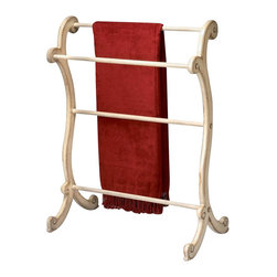 Butler Specialty - Butler Specialty Blanket Rack in Parchment Finish - Butler Specialty - Blanket Racks - 1934134. This gorgeous blanket rack stand has a Hand painted finish on selected hardwoods and wood products. Horizontal rails for hanging quilts comforters bedspreads as well as blankets. Can also be used for hanging guest towels. Hand painted finish on selected hardwoods and wood products. Horizontal rails for hanging quilts comforters bedspreads as well as blankets. Can also be used for hanging guest towels