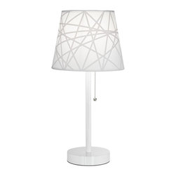 """Lamps Plus - Contemporary Flesner White Accent Table Lamp with USB Port - Lamp with USB port. White finish. Metal construction. Pull switch. White shade with a free form design. Maximum 60 watt or equivalent bulb (not included). 20"""" high.  Lamp with USB port and plug.   White finish.   Metal construction.   Pull switch.   White shade with a free form design.  Small size ideal for desks or side tables.  Maximum 60 watt or equivalent bulb (not included).   20"""" high.    Shade is 7"""" wide across the top 9 1/2"""" wide across the bottom and 8"""" on the slant.   One amp USB port perfect for recharging your phone or tablet."""