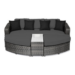 """Reef Rattan - Reef Rattan Aruba 4 Pc Day Bed Set - Grey Rattan / Grey Cushions - Reef Rattan Aruba 4 Pc Day Bed Set - Grey Rattan / Grey Cushions. This patio set is made from all-weather resin wicker and produced to fulfill your needs for high quality. The resin wicker in this patio set won't fade, shrink, lose its strength, or snap. UV resistant and water resistant, this patio set is durable and easy to maintain. A rust-free powder-coated aluminum frame provides strength to withstand years of use. Sunbrella fabrics on patio furniture lends you the sophistication of a five star hotel, right in your outdoor living space, featuring industry leading Sunbrella fabrics. Designed to reflect that ultra-chic look, and with superior resistance to the elements in a variety of climates, the series stands for comfort, class, and constancy. Recreating the poolside high end feel of an upmarket hotel for outdoor living in a residence or commercial space is easy with this patio furniture. After all, you want a set of patio furniture that's going to look great, and do so for the long-term. The canvas-like fabrics which are designed by Sunbrella utilize the latest synthetic fiber technology are engineered to resist stains and UV fading. This is patio furniture that is made to endure, along with the classic look they represent. When you're creating a comfortable and stylish outdoor room, you're looking for the best quality at a price that makes sense. Resin wicker looks like natural wicker but is made of synthetic polyethylene fiber. Resin wicker is durable & easy to maintain and resistant against the elements. UV Resistant Wicker. Welded aluminum frame is nearly in-destructible and rust free. Stain resistant sunbrella cushions are double-stitched for strength and are fully machine washable. Removable covers made with commercial grade zippers. Tables include tempered glass top. 5 year warranty on this product. PLEASE NOTE: Throw pillows are NOT included. Bench: W 85"""" D 33"""" H 25"""", Otto"""