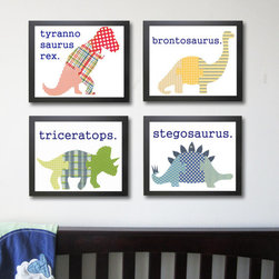 Dinosaur Wall Art by Just Bunch Designs - Dapper dinosaurs for the wall? Yes, please. I only wish I could mix prints half as well.
