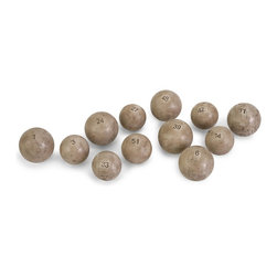 iMax - iMax Twelve Bennett Vintage Lottery Balls w/ Gift Box X-96027 - Styled after vintage lottery balls, this set of twelve fillers, part of the Ella Elaine collection, look great in bowls or wide mouth bottles to add character to any room.