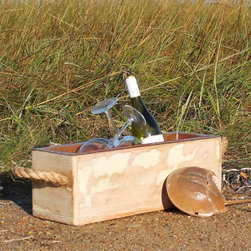Recent Pieces - A bottle chiller handmade with salvaged antique barn board. A hand-forged copper inset, with drain, and heavy nautical hemp rope complete it.