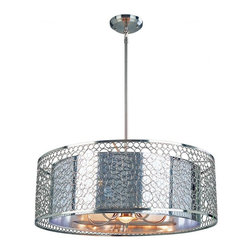 Six Light Brushed Nickel Maylar Metal Shade Drum Shade Pendant - With a definite retro influence contrasting with a contemporary execution, this large pendant truly makes a remarkable statement. This mirrored inner shade is surrounded by a very modernly textured outer shade, and the fixture is finished in brush nickel. This fixture comes complete to be hung as a pendant or semi flush mount, and also includes a telescoping rod to ensure the fixture is hung to the user's specification.
