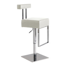 "Nuevo Living - Aria Bar Stool, White - This stunningly beautiful and artistic Aria Bar Stool features full 360 degree swivel and a gas lift mechanism so you can adjust your designed height from 21.5"" to 29"". Aria adjustable bar stool is made from hardwood seat frame with CFS foam and top grain Italian leather. The modern design makes this stool very versatile, and offers height adjustment so you can use it just about anywhere."