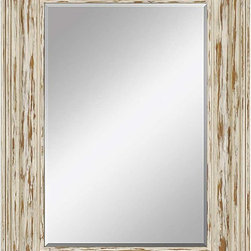 Paragon Decor - Distressed Bungalow - Frame is painted white and distressed for a shabby chic look.  Mirror size is 39h x 27w.