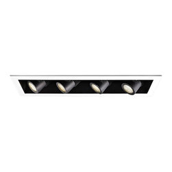"""WAC - WAC 20 Degree 3000K LED Recessed Housing Quad Spot Light - Offer a smooth finished look to your ceilings with this 3000K LED recessed housing designed for new construction projects. A white finish trim surrounds the black housing which holds four dimmable spot lights with a 20 degree beam spread. For non-insulated ceilings. ENERGY STAR® rated. ETL and cETL listed. Compatible with WAC recessed lighting products. 4"""" WAC new construction quadruple spot light recessed housing. 20 degree beam spread. Color temperature is 3000K. Includes four 16 watt LEDs. Light output is 1100 lumens per light. Comparable to four 75 watt MR16 bulbs. Bulbs average 50000 hours at 3 hours a day. 100 percent to 10 percent dimming. CRI is 85. 120 to 277 volts. ENERGY STAR® rated. For non-insulated ceilings. 29"""" wide. 6"""" high.  4"""" WAC new construction quadruple spot light recessed housing.  20 degree beam spread.  Color temperature is 3000K.  Includes four 16 watt LEDs.  Light output is 1100 lumens per light.  Comparable to four 75 watt MR16 bulbs.  Bulbs average 50000 hours at 3 hours a day.  100 percent to 10 percent dimming.  CRI is 85.  120 to 277 volts.  ENERGY STAR® rated.  For non-insulated ceilings.  29"""" wide.  6"""" high."""