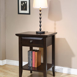 Coventry - Coventry 1-drawer Nightstand - Add bedside storage to your room with this one-drawer wooden nightstand. The lower shelf is a great place for bedtime books,and the single drawer can hold reading glasses and other items.