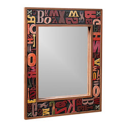 "Printer's Block Border Accent Mirror 15"" x 20"" - Cute colorful accent mirror for any room."