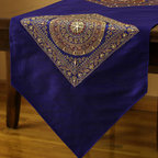 "Elegant Table Runners - Unique ""Oriental Harmony"" table runner. King Blue color. Decorative Indian hand crafted design."