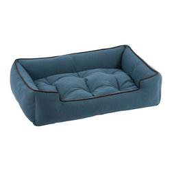 Jax & Bones - Jax & Bones Sleeper Bed Ocean X-Large - Jax and Bones sleeper beds are made from extremely durable microsuede fabric which are filled with an eco-friendly fiber. The bed offers great comfort and firm support for your dog and each sleeper bed is 100% washable and comes with removable pillow inserts. These sleeper beds are amazingly classy and will look good in any living space.    Made in the USA, Sleeperbeds are constructed with durable microsuede fabric.  Beds are filled using Jax and Bones signature eco-friendly fiber, Sustainafil.  Centre pad is tufted and provides firm support and comfort.  Removable center Pad can be used as crate pad.  Each Sleeper Bed comes pillow inserts, 100% Washable.  Contrasting piping giving a modern yet classic look that works in any living space.