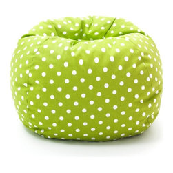 Comfort Research - Comfort Research Medium Twill Bean Bag Chair - Green with Small White Dot Twill - Shop for Beanbags from Hayneedle.com! A favorite for everyone the Comfort Research Medium Twill Bean Bag Chair - Green with Small White Dot Twill brings comfort and style to your decor. Upholstered in durable twill this comfy bean bag is filled with UltimaX beans that conform to you. Its fun white polka dot pattern over a green background adds to its contemporary appeal. Double zippers and a double-stitched design add strength and safety to this seat. Round in shape this bean bag chair is the perfect size for any space.About Comfort ResearchComfort Research is famed for having created the Fuf chair an innovative update on the classic bean bag chair filled with a comfy material known as Fuf foam. This special blend of foam never goes flat for long-lasting comfort. Based in Grand Rapids Michigan Comfort Research has recently developed several new lines of creative inventive chairs. They've addressed the needs of eco-friendly consumers by creating incredibly comfortable green chairs; one style is made with buckwheat filling and organic cotton the other uses recycled polystyrene filling and a special fabric made from recycled soda bottles. No matter which style or shape of chair you choose you can be sure your Comfort Research product will look great and stay comfortable for years to come.