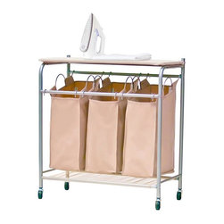 Home Decorators Collection - Triple Sorter with Ironing Board - The three laundry bags of our Triple Sorter with Ironing Board feature everfresh© technology: 100% environmentally friendly enzymes are built right into the fabric to reduce odor. This rolling cart lets you easily keep your laundry at hand and sorted by load. The top board can be used for folding or ironing. Metal tube frame with chrome finish. Wood board for ironing and folding. Three lift-out, wipe-clean fabric laundry bags in taupe. Easy-roll casters. Patented everfresh© technology reduces odors naturally. Easy assembly.