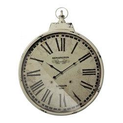 Joshua Marshal - Kensington Station Clock With Antique Cream Metal Frame - Kensington Station Clock With Antique Cream Metal Frame