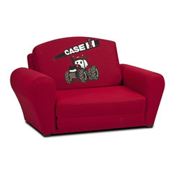 """Kidz World - Kidz World Case IH Sleepover Sofa in Red - This Case IH Sleepover/Sofa is a brand new addition to our licensed juvenile furniture line-up. Case International Harvester has been a leader in the agricultural industry for over 160 years now and this item is upholstered in a bright red 7 oz. fabric that features the Case International character """"Big Red"""" image on the inner backrest when in the """"sofa"""" position and the Case IH name is featured in white lettering above the tractor image. We feel confidant that this new addition to our line-up will be a popular item for any child who loves tractors."""