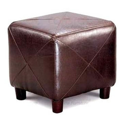 Coaster - Contemporary Cube Ottoman (Black) - Color: BlackPlush cushion upholstery with distinctive X stitching. Round wood feet. Made from faux leather. 18 in. L x 18 in. W x 18 in. H. WarrantyThis lovely contemporary cube ottoman will be a nice addition to your home. Use in your living room, family room, or other areas for a comfortable touch. Use on its own, or beneath a coffee table for a unique style with great function.