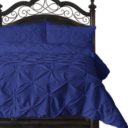 4 Piece Pinch Pleat Puckering Comforter Set by ExceptionalSheets, Royal Blue - For those of you who are allergic to feathers but long for the warmth, style and coziness of down comforter, this comforter is for you. Elegant, Colorful, Comfy and AFFORDABLE. The Pinch Pleat Puckering Comforter is made from micro fiber and is as soft as goose down. It is treated with anti-microbial finish to repel dust mites and is ideal for allergy sufferers. Lastly, it is constructed using a box stitching design to avoid any shifting of the fill. Machine washable!
