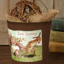 Your Heart's Delight - 'Easter Greetings' Bucket - Put a little spring in the decor's step with the picturesque design of this delicate paper bucket.   5'' H x 4'' diameter Paper / pulp Imported