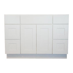 "JSI - JSI Dover 48"" 2 Door, 4 Drawer Vanity Base in White - PLEASE NOTE: This listing is for vanity cabinet only, no top or hardware is included."