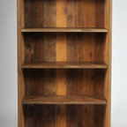Versailles Bookcase - A rustic mid century modern design, this piece is built with all reclaimed rough sawn antique pine and oak from Versailles, NC.  Hand Built by Reclamation Company in Hickory, NC.