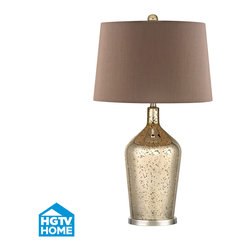 HGTV HOME - HGTV HOME HGTV355 Pershore 1 Light Table Lamps in Antique Gold Mercury With Poli - Gold Mercury Glass Bottle Lamp With Chocolate Shade