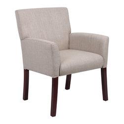 Boss Chairs - Boss Chairs Boss Box Arm Guest Chair - Linen Upholstery w/Mahogany Wood Finish - Mid-back box arm chair. Upholstered with Ecru linen material. Mahogany wood finish legs.