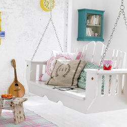 Hanging Bench In Nordic Design, White Varnished - This bench looks great with colorful pillows and it would be perfect in a playroom or on a front porch.