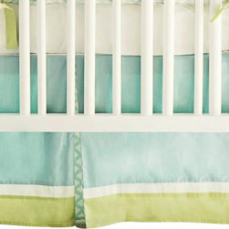"New Arrivals Inc. - Sprout Crib Skirt - The Sprout Crib Skirt has a 17"" drop and uses Taffeta in Ice Blue doubled banded with Taffeta in Cream and Green Tea Solid with pleats in Dream Oasis."