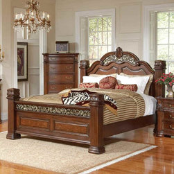 Coaster - DuBarry Eastern King Size Bed - Bring opulence to your bedroom with this ornate styled bedrrom collection. This set features intricate carvings and moldings on the bed and mirror. Drawers are constructed with dovetail sides for added strength and smooth full extension drawer glides. Made from mahogany solids and veneers and finished in a rich brown tone.