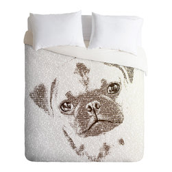 DENY Designs - Belle13 The Intellectual Pug Duvet Cover - Turn your basic, boring down comforter into the super stylish focal point of your bedroom. Our Luxe Duvet is made from a heavy-weight luxurious woven polyester with a 50% cotton/50% polyester cream bottom. It also includes a hidden zipper with interior corner ties to secure your comforter. it's comfy, fade-resistant, and custom printed for each and every customer.