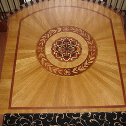 Wood medallion with radial cut boards -