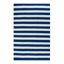 Fab Habitat - Nantucket Blue & White (4' x 6') - This stylishly simple rug features an alternating series of solid stripes for a classic coastal aesthetic. Whether you live in a cottage in Kansas or a house in the Hamptons, you can feel like it's Summer along the water … all year-round.