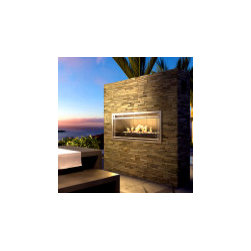 Impression Outdoor Fireplace - At first glance, I had a hard time believing this was an outdoor fireplace. It's imposing mid way up the stacked stone wall and will really stand out in an outdoor space. I also like that the finish is flexible so you can build this great focal point to suit your style.