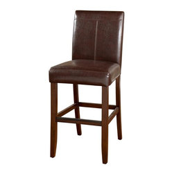 American Heritage - Carla 30 in. Bar Stool in Brown and Brown - S - Set of 2. Finished in Brown. Brown Vinyl Upholstery. Solid Wood Frame. 3 in. Cushion. Stationary Stool. Floor Glides. Construction Material: Wood. Assembly Required. 30 in. Seat Height. 1 Year Warranty. Seat Width: 20 inches. Seat Depth: 17 inches. 20 in. W x 24 in. D x 45 in. H