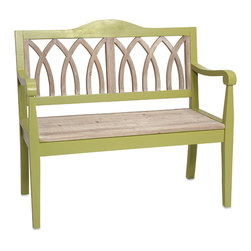 Gibson Wooden Bench - With a soft green tone and natural fir wood accents, the Gibson bench adds modern style and a garden inspired look to any home.