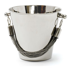 Chained Ice Bucket - The country chic chiller allows you to enjoy the right taste of your favorite beverage whether it is soda, beer or wine. This White Rope Chiller  comprises so stylish design in such a way that it will not take much room on the bar, buffet or tabletop. This elegant brass bucket is adorned with nickel polish and featured with a stainless steel chain for a sophisticated look.