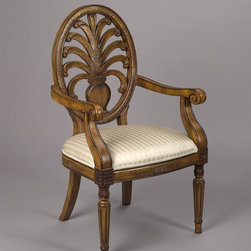 AA Importing - Oval Back Arm Chair w Upholstered Seat & Waln - Gain a decided advantage with this classic, comfortable arm chair. It has a detailed, carved back with plenty of ventilation. Padded, upholstered seat has wide profile for superior support. Wood chair works well in a variety of home decors, including yours! Completed with walnut finish. Upholstered seat. Vase with plants design. With arms. 19 in. L x 23 in. W x 41 in. H (19 lbs.)